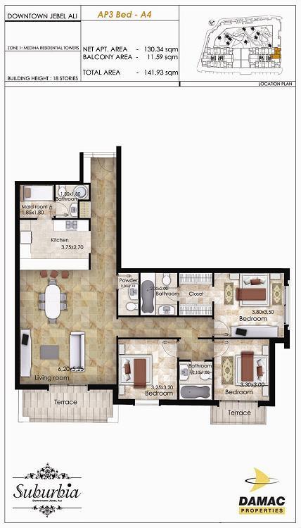 3 Bedroom Apartment - Suburbia